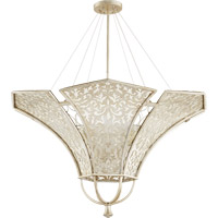 Quorum International Bastille 8 Light Pendant in Aged Silver Leaf 875-8-60