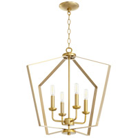 Quorum 894-4-80 Signature 4 Light 23 inch Aged Brass Mini Chandelier Ceiling Light Quorum Home
