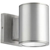 Quorum 920-2-16 Cylinder LED 6 inch Brushed Aluminum Outdoor Wall Mount