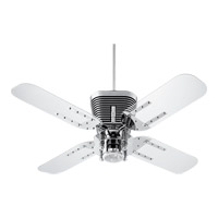 Retro 52 inch Chrome with Clear Acrylic Blades Ceiling Fan