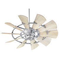 Quorum 94410-9 Windmill 44 inch Galvanized with Weathered Oak Blades Indoor Ceiling Fan