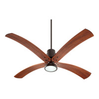 Quorum International Flex 1 Light Ceiling Fan in Oiled Bronze with Vintage Walnut Blades 98604-86