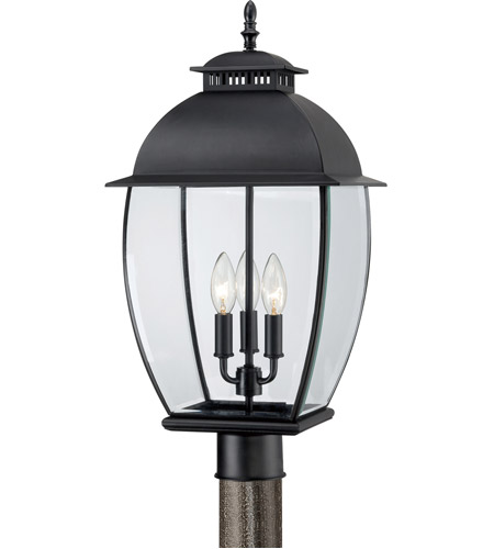 Quoizel Lighting Bain 3 Light Post Lantern in Mystic Black BAN9011K photo