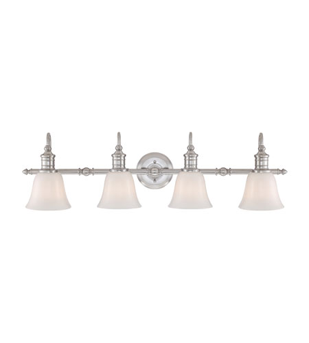 36 Vanity Light Brushed Nickel : Quoizel BGT8604BN Broadgate 4 Light 36 inch Brushed Nickel Bath Vanity Wall Light