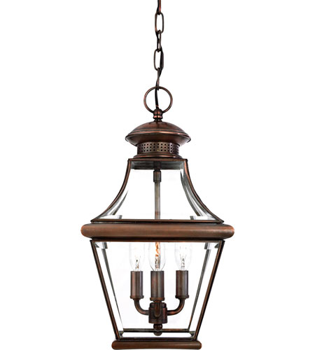 Quoizel Lighting Carleton 3 Light Outdoor Hanging Lantern in Aged Copper CAR1801AC photo