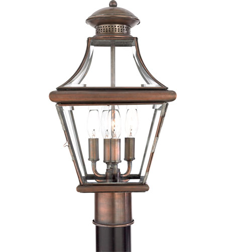 Quoizel Lighting Carleton 4 Light Outdoor Post Lantern in Aged Copper CAR9011AC photo