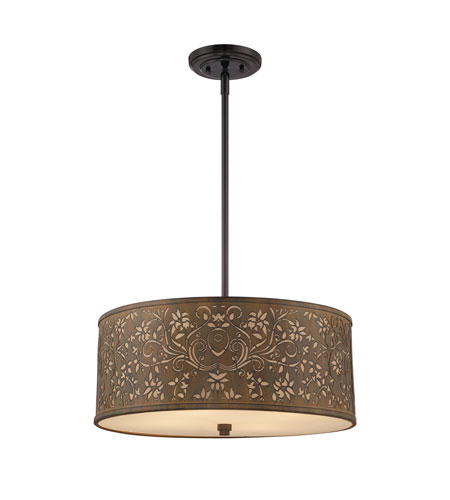 Quoizel Lighting Fleur 4 Light Pendant in Mystic Black CKFR2820K photo