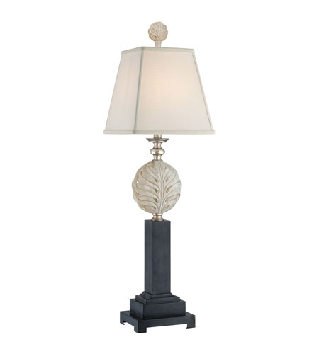 Quoizel Lighting Palmetta 1 Light Table Lamp in Antique Ivory, Silver, and Black CKPT1484T photo