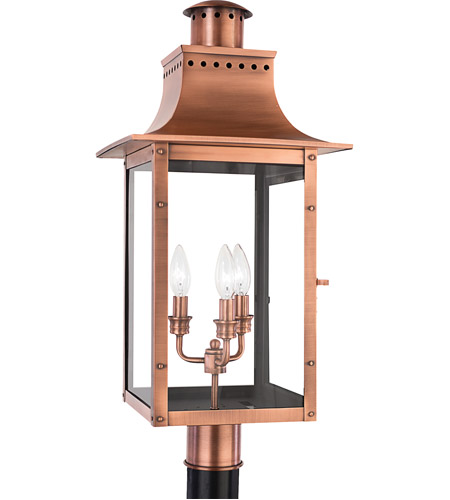 Quoizel Lighting Chalmers 3 Light Outdoor Post Lantern in Aged Copper CM9012AC photo