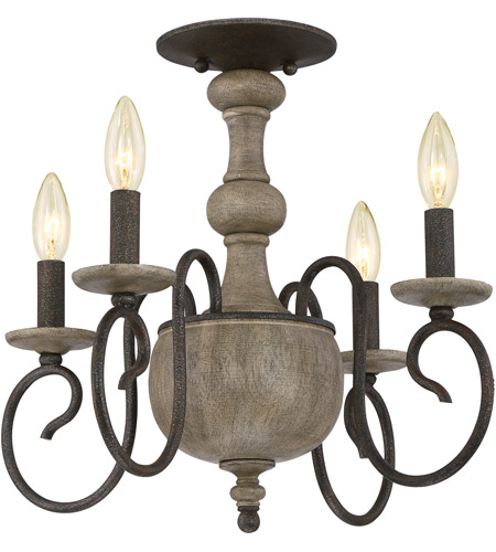 Quoizel CS1718RK Castile 4 Light 18 inch Rustic Black Semi-Flush Mount Ceiling Light photo