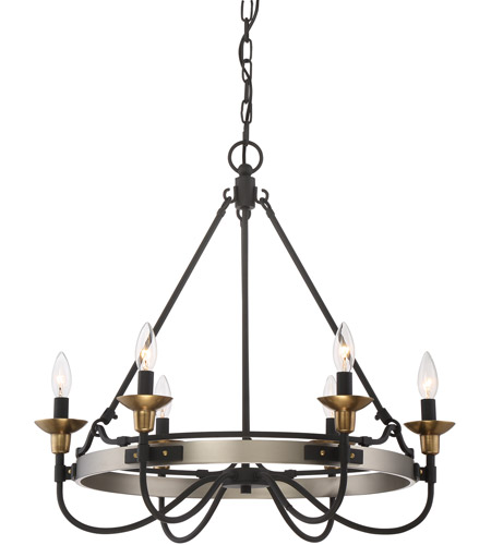 Quoizel cth5006an castle hill 6 light 25 inch antique nickel chandelier ceiling light in b10 candelabra base
