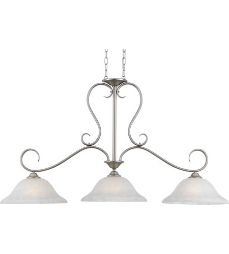 Quoizel DH348AN Duchess 3 Light 48 inch Antique Nickel Island Light Ceiling Light in Grey Marble Glass photo