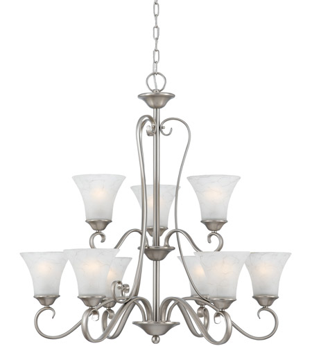 Quoizel DH5009AN Duchess 9 Light 31 inch Antique Nickel Chandelier Ceiling Light in Grey Marble Glass photo