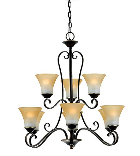 Quoizel DH5009PN Duchess 9 Light 31 inch Palladian Bronze Chandelier Ceiling Light in Champagne Marble Glass photo
