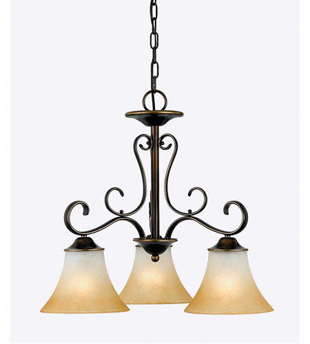 Quoizel DH5103PN Duchess 3 Light 23 inch Palladian Bronze Chandelier Ceiling Light in Champagne Marble Glass photo