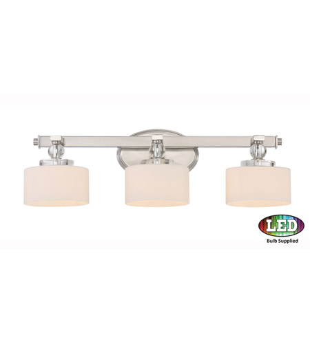 Quoizel DW8603BNLED Downtown 3 Light 25 inch Brushed Nickel Bath Light Wall Light in Frosted LED G9  sc 1 st  Quoizel Lighting Lights & Quoizel DW8603BNLED Downtown 3 Light 25 inch Brushed Nickel Bath ...