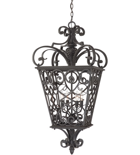 Quoizel FQ1920MK01 Fort Quinn 4 Light 19 inch Marcado Black Outdoor Hanging Lantern photo