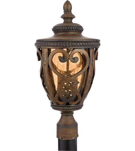 Quoizel Lighting Fort Quinn 2 Light Outdoor Post Lantern in Antique Brown FQ9010AW01 photo