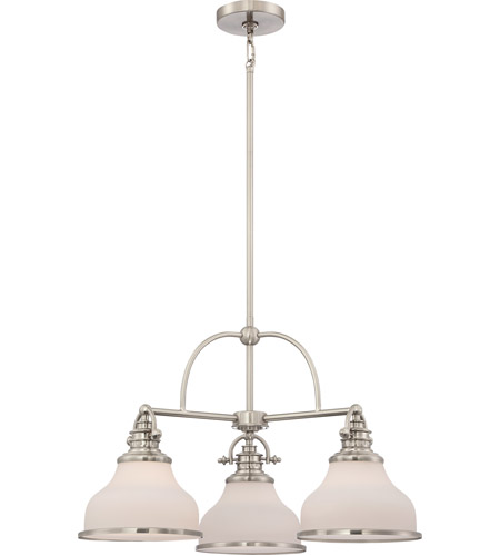 Quoizel Grt5103bn Grant 3 Light 24 Inch Brushed Nickel Chandelier Ceiling