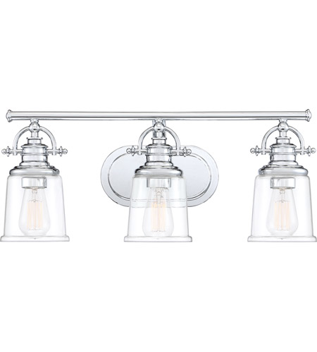Quoizel Grt8603c Grant 3 Light 23 Inch Polished Chrome Bath Light Wall Light Large