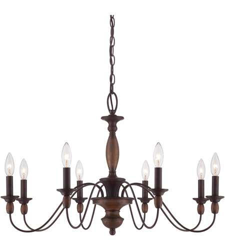 Quoizel hk5008tc holbrook 8 light 29 inch tuscan brown chandelier ceiling light
