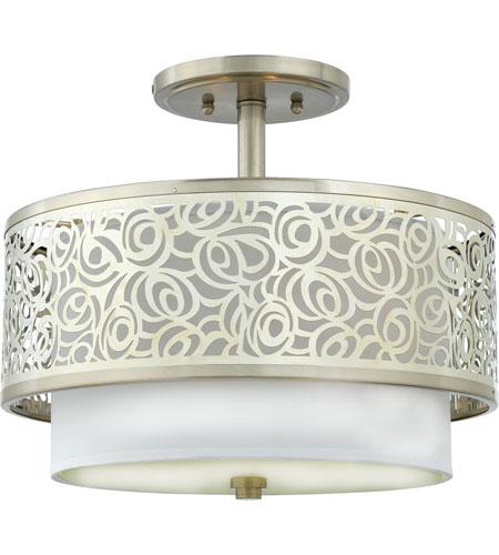 quoizel lighting josslyn 2 light semi flush mount in brushed nickel