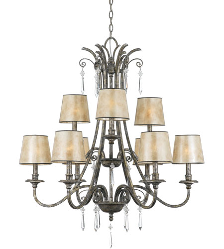 Quoizel Lighting Kendra 9 Light Chandelier in Mottled Silver KD5009MM photo