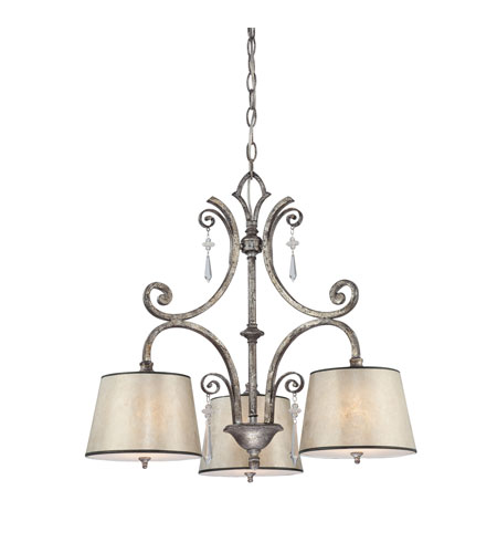 Quoizel Lighting Kendra 3 Light Chandelier In Mottled Silver Kd5103mm