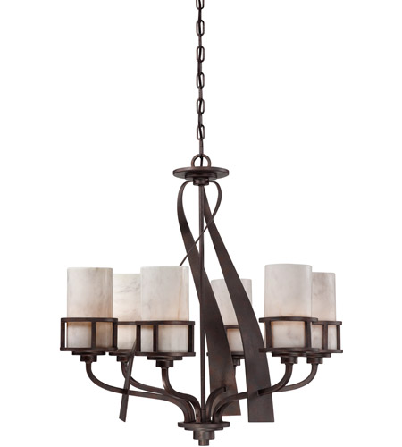 Quoizel KY5006IN Kyle 6 Light 28 inch Iron Gate Chandelier Ceiling Light in White Onyx Shade photo