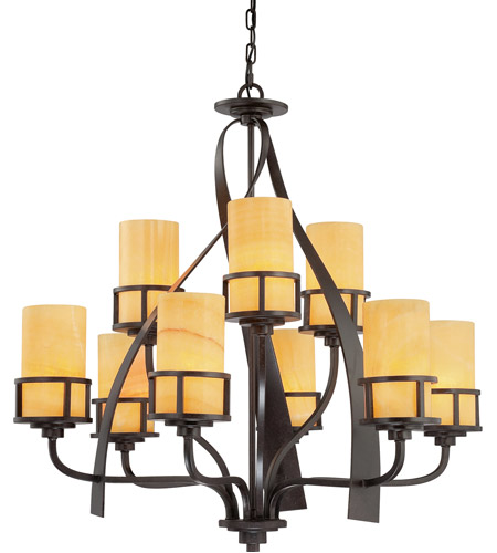 Quoizel KY5009IB Kyle 9 Light 35 inch Imperial Bronze Chandelier Ceiling Light in Butterscotch Onyx Shade, Naturals photo