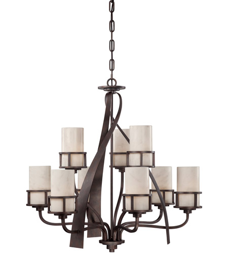Quoizel KY5009IN Kyle 9 Light 35 inch Iron Gate Chandelier Ceiling Light in White Onyx Shade photo
