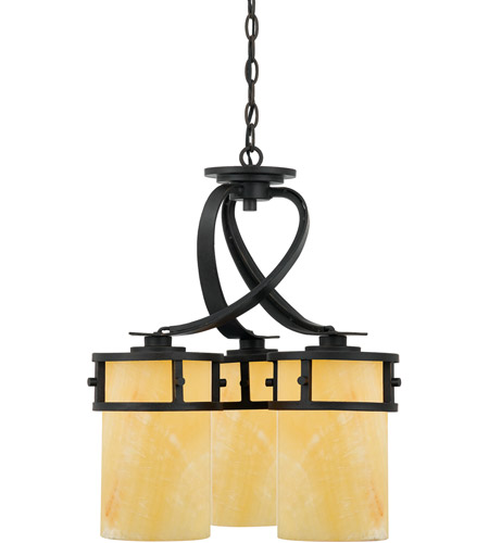 Quoizel KY5103IB Kyle 3 Light 20 inch Imperial Bronze Chandelier Ceiling Light in Butterscotch Onyx Shade photo