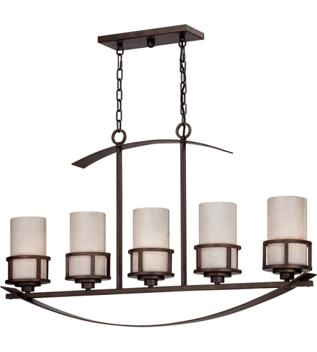 Quoizel KY540IN Kyle 5 Light 40 inch Iron Gate Island Light Ceiling Light in White Onyx Shade photo