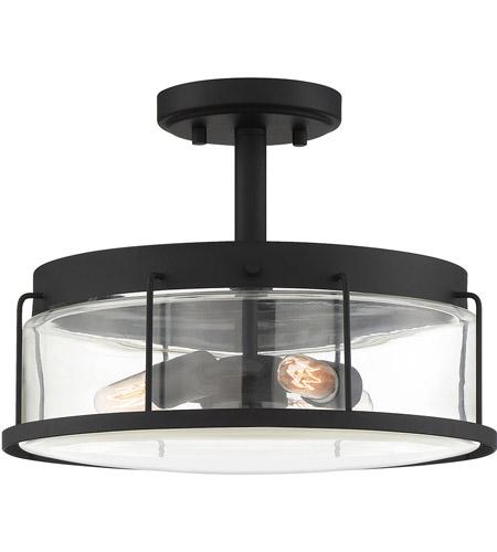 Quoizel Lud1713ek Ludlow 3 Light 13 Inch Earth Black Semi Flush Mount Ceiling Light