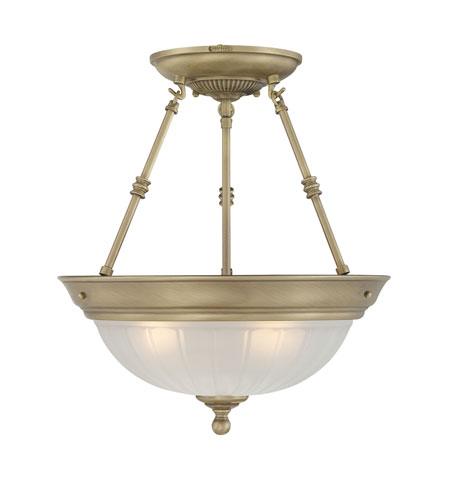 Quoizel Lighting Melon 3 Light Semi-Flush Mount in Antique Brass ML1715A