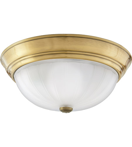 Quoizel Ml183a Melon 2 Light 13 Inch Antique Br Flush Mount Ceiling