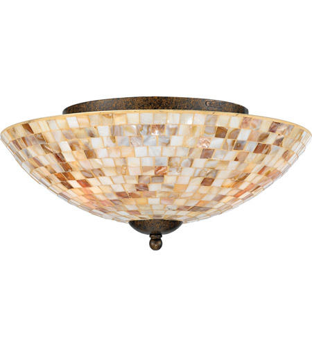 Quoizel MY1613ML Monterey Mosaic 3 Light 16 inch Malaga Flush Mount Ceiling Light, Naturals photo