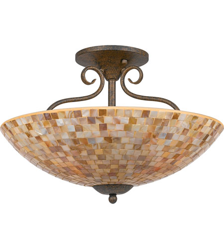 Quoizel Lighting Monterey Mosaic 4 Light Semi-Flush Mount in Malaga MY1718ML photo