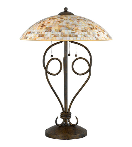 Quoizel Lighting Monterey Mosaic 3 Light Table Lamp In Malaga