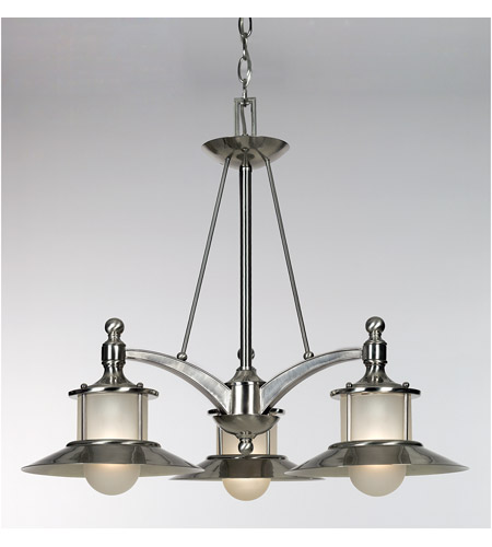 Quoizel New England 3 Light Dinette Chandelier in Brushed Nickel NA5103BN photo