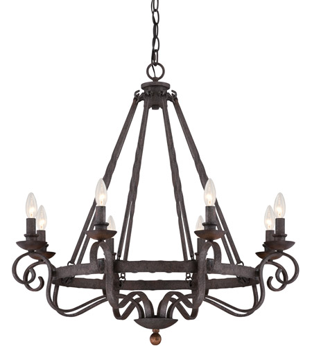 Quoizel NBE5008RK Noble 8 Light 32 inch Rustic Black Chandelier Ceiling Light photo