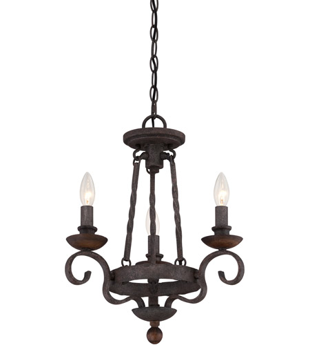 Quoizel NBE5303RK Noble 3 Light 15 inch Rustic Black Chandelier Ceiling Light photo