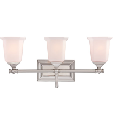 Bathroom Lighting Fixtures Brushed Nickel quoizel nl8603bn nicholas 3 light 22 inch brushed nickel bath