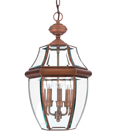 Quoizel Lighting Newbury 3 Light Outdoor Hanging Lantern in Aged Copper NY1179AC photo