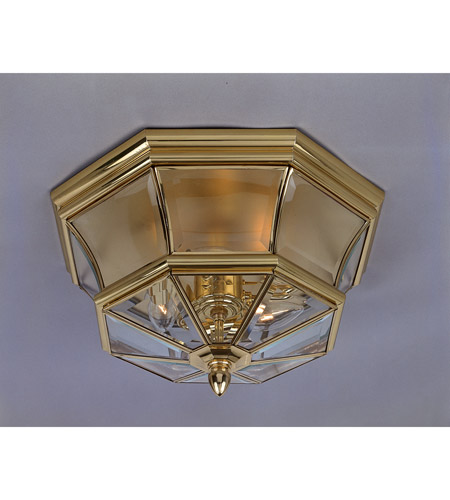 Quoizel Lighting Newbury 3 Light Outdoor Semi-Flush Mount in Polished Brass NY1794B photo