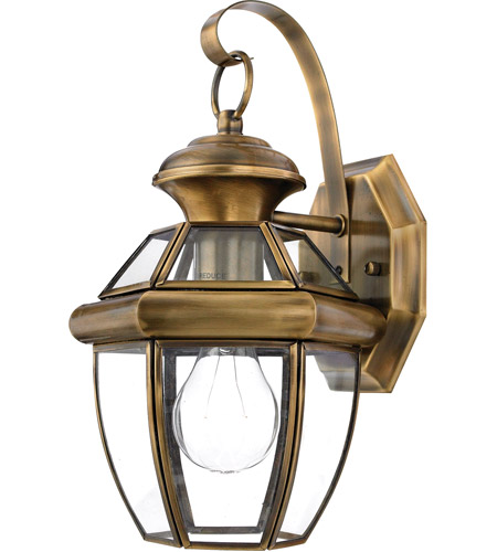 Quoizel Lighting Newbury 1 Light Outdoor Wall Lantern in Antique Brass NY8315A photo