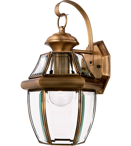 quoizel ny8316a newbury 1 light 14 inch antique brass outdoor wall