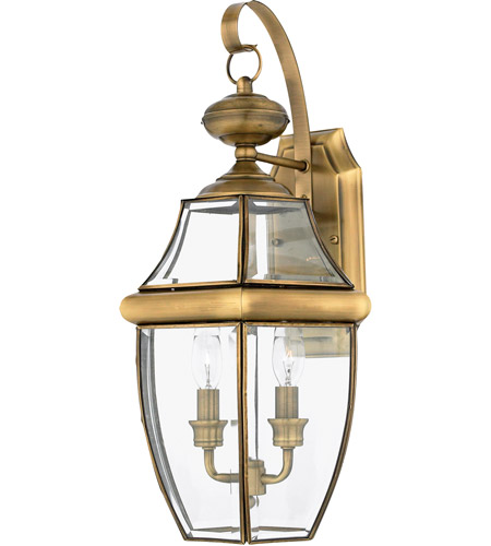 Quoizel Lighting Newbury 2 Light Outdoor Wall Lantern in Antique Brass NY8317A photo