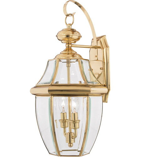 Quoizel Lighting Newbury 2 Light Outdoor Wall Lantern in Polished Brass NY8317B photo