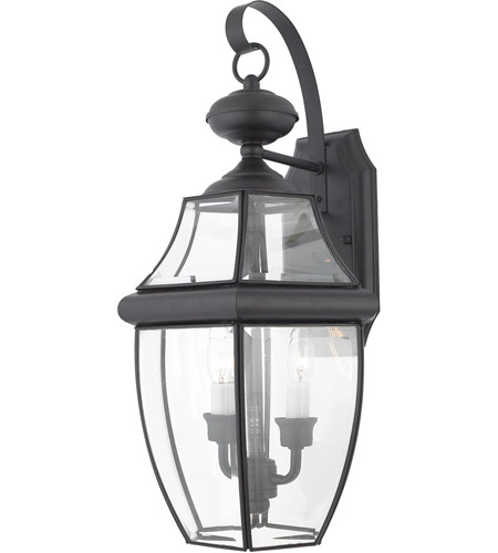 Quoizel Lighting Newbury 2 Light Outdoor Wall Lantern in Mystic Black NY8317K photo